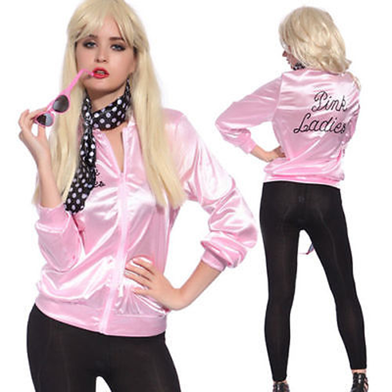 New Fashion Pink Lady Retro Coat Jacket Womens Fancy Long Sleeve Grease Costume Cheerleader Satin 50's Frenchie Rizzo