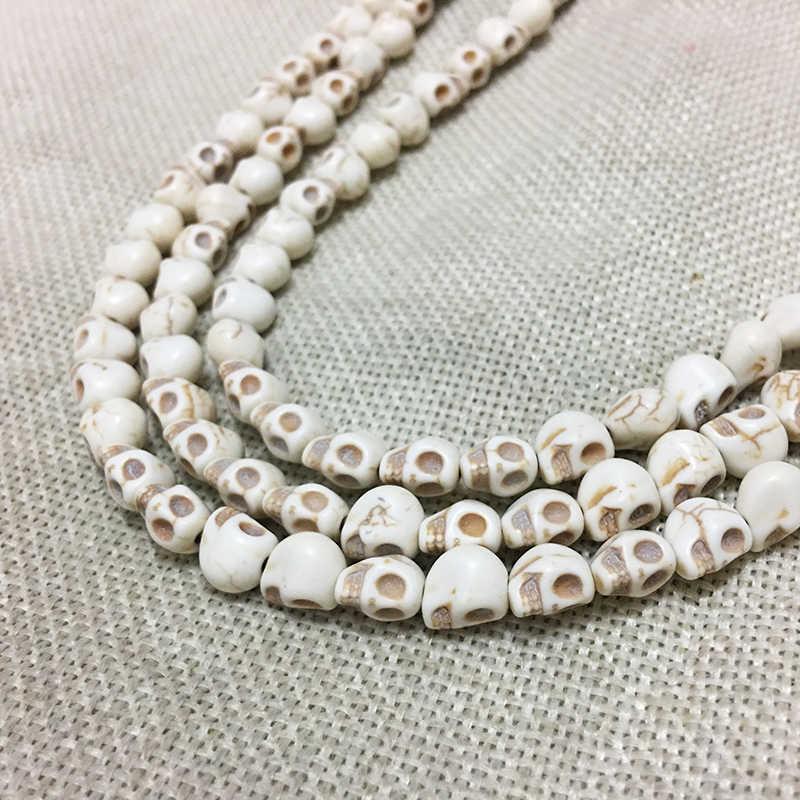 STENYA 8mm Diy Blue Color Skull Gem Natural Stone Howlite Spacers loose Beads Men Bracelet Jewelry Findings Tridacna Accessories