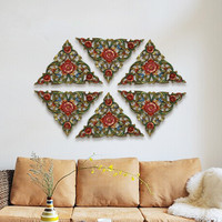 Southeast Asia carved panels combined wall decoration Thailand living room soft wall decorations solid wood ornaments