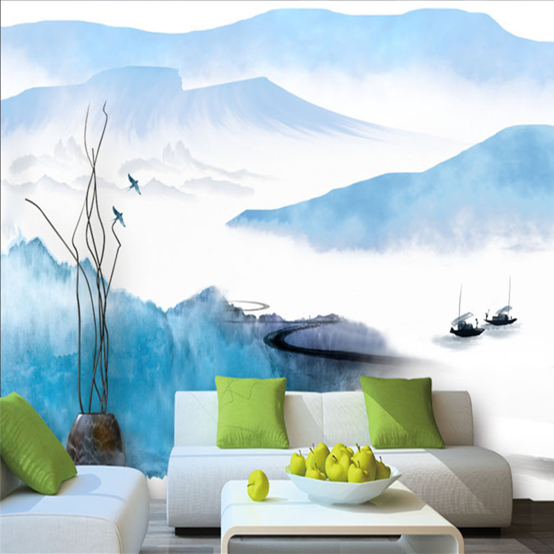 Photo Custom Wallpaper for Walls 3D Chinese Style Abstract Ink Mountain Bird Boat 3D Wallpaper For Living Room Hotel Lobby Mural free shipping retro tv backdrop living room bedroom lobby high quality wallpaper 3d stereo bathroom hotel restaurant mural