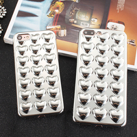 For IPhone7 PLus 3D Peach Love Heart Plating Case Plating Hard PC Back Cover Shell Funda