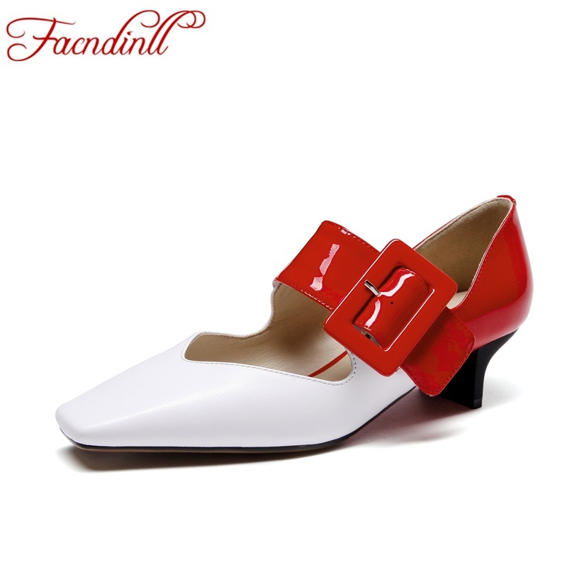 FACNDINLL brand designer shoes spring summer women pumps genuine leather high heels square toe red dress party ladies nude pumps facndinll genuine leather sandals for