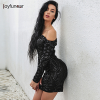 Sexy Lady Sequined Dress 2016 New Off Soulder Sexy Long Sleeve Bodycon Pencil Package Hip