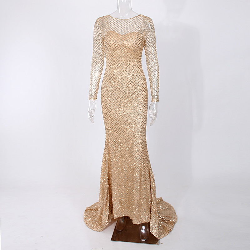 Full Sleeved Gold Glittered Maxi Dress Hollow Out Backless Mermaid Dresses O Neck Glitters Floor Length