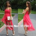 High quality 2013 new arrival chiffon high low cheap coral cocktail dress JW086