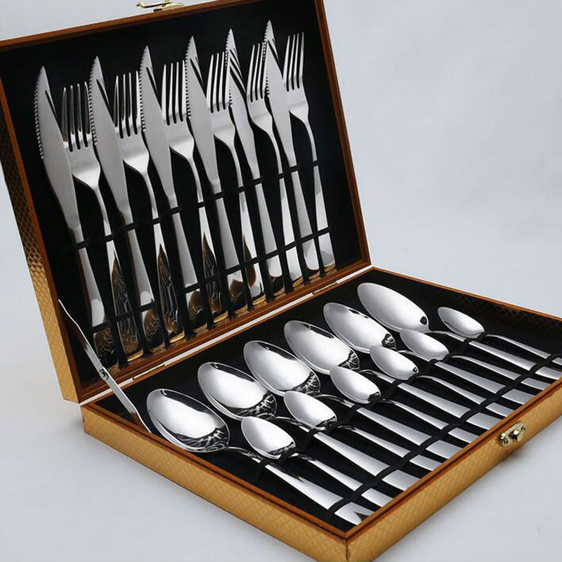 24 pièces/ensemble en acier inoxydable ensemble de haute qualité miroir polonais vaisselle ensembles couteau fourchette cadeau boîte vaisselle ensemble fête cadeau ZA3804