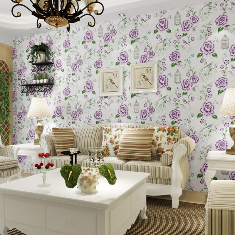 Free Shipping Blooming rich bird new Chinese classic pastoral blue flower wallpaper living room bedroom background wallpaper шляпы тт шляпа весенняя фантазия