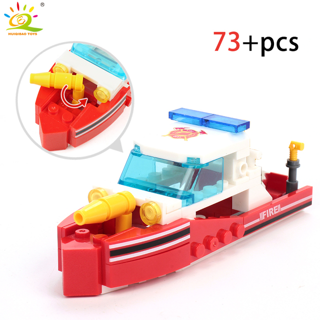 348pcs Fire Fighting 4in1 Trucks Car Helicopter Boat Building Blocks 4