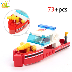 Image 5 - HUIQIBAO 348pcs Fire Fighting 4in1 Trucks Car Helicopter Boat Building Blocks City Firefighter Figures Man Bricks Children Toys