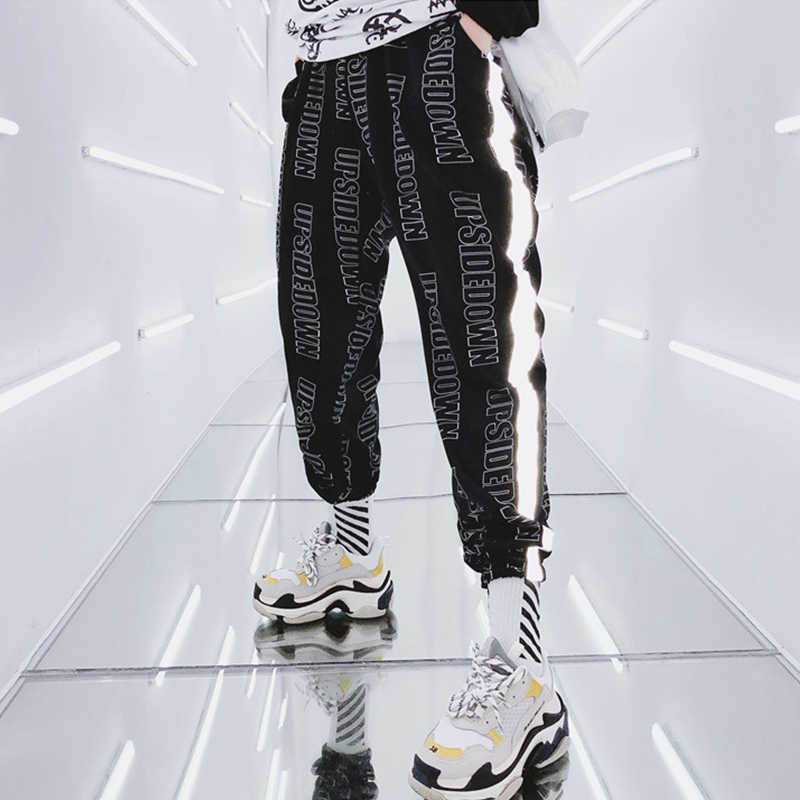 Harem Pants Female New Hip Hop High Waist Women Slim reflect light Pants Hip Hop Sweetwear Trouser