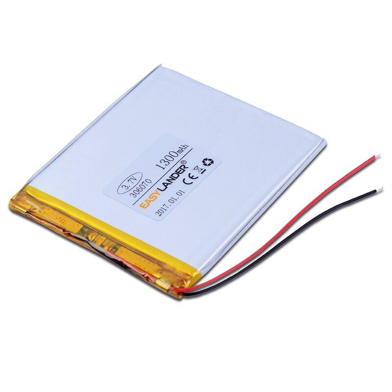 306070 3.7V 1300mAh Rechargeable li Polymer Battery For PSP PDA GPS DVR E-Book Tablet PC Power Bank Wexler Book E6005