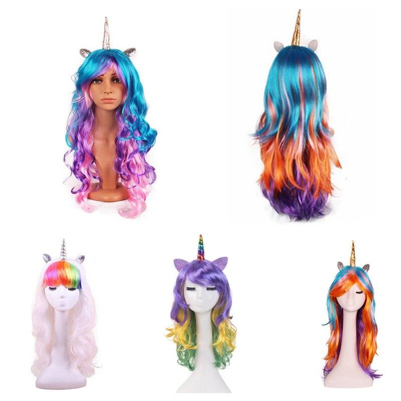 Artesanato suprimentos 4 estilos dos desenhos animados cavalo cosplay unicórnio peruca adereços do feriado festa de halloween natal adulto crianças