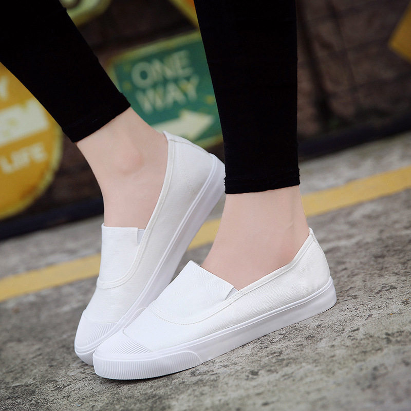 где купить 2018 women casual loafers shoes breathable light fabric fashion spring autumn solid black white flat with cheap female shoes по лучшей цене