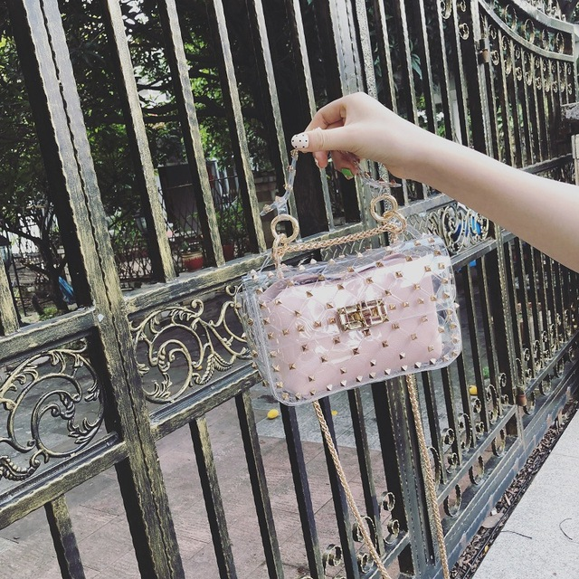 Fashion Rivet Chain 2019 New Small Women's Tote Bag Clear Shoulder Bags Female Handbag Beach Transparent Jelly Crossbody Bag