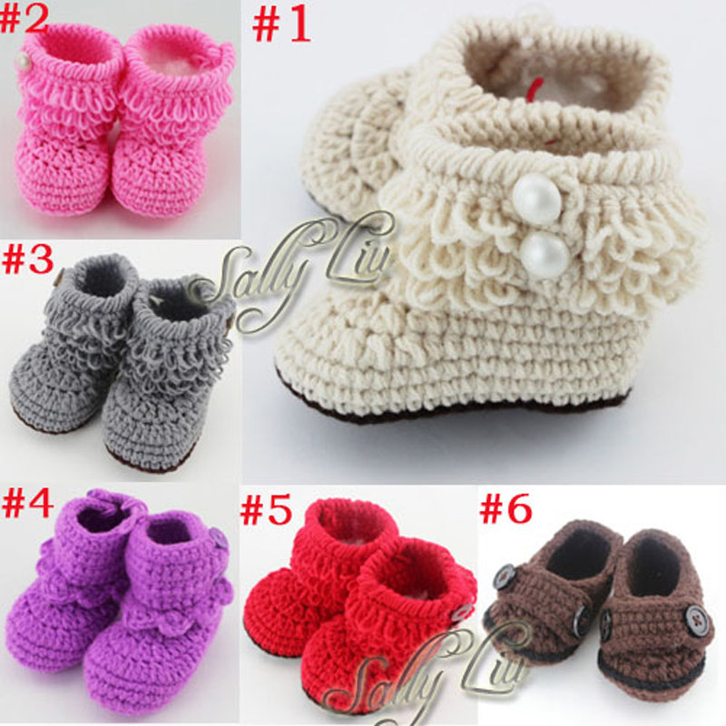 Retail Newborn Toddler Crochet Shoes Infant Snow Booties Baby Cute Handmade Boots Free Shipping XZ010