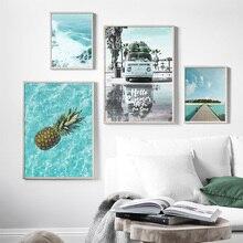 Beach Surf Морской автомобиль кокосовой пальмы Пейзаж Nordic Плакаты И Принты Wall Art Холст