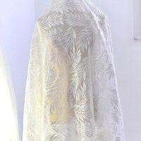 Material del cordón de Marfil de la boda vestido de lentejuelas de tela de encaje con lentejuelas Plumas bordados cording encaje de costura para el vestido nupcial