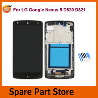 Angcoucoux For LG Google Nexus 5 D820 D821 LCD Display 4.95 Touch Screen Glass Digitizer Assembly With Frame Parts + Free Tools