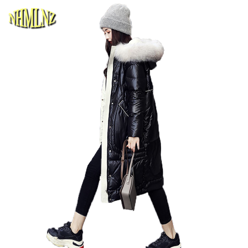 Med-length Glossy   Down     Coats   Women 2019 New High quality Fur collar Slim   Coat   Hooded Warm   Down   Jacket Female Outwear Casaco QA32