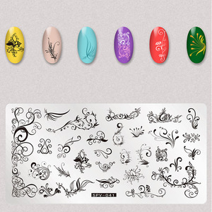 Image 3 - 1Pcs Dry Flowers Nail Stamping Plates Leaves Image Rectangle Nail Art Stamp Plate Manicure Template Stencils Tools