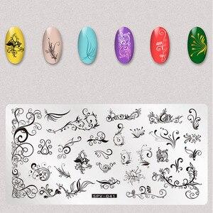 Image 3 - 1Pcs Trockene Blumen Nail Stamping Platten Blätter Bild Rechteck Nail art Stempel Platte Maniküre Vorlage Schablonen Werkzeuge