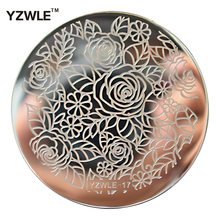 1 Piece 5.6cm Round Rose Flower Design Nail Stamp Plates Stainless Steel Template Polish Manicure Stencil Tools