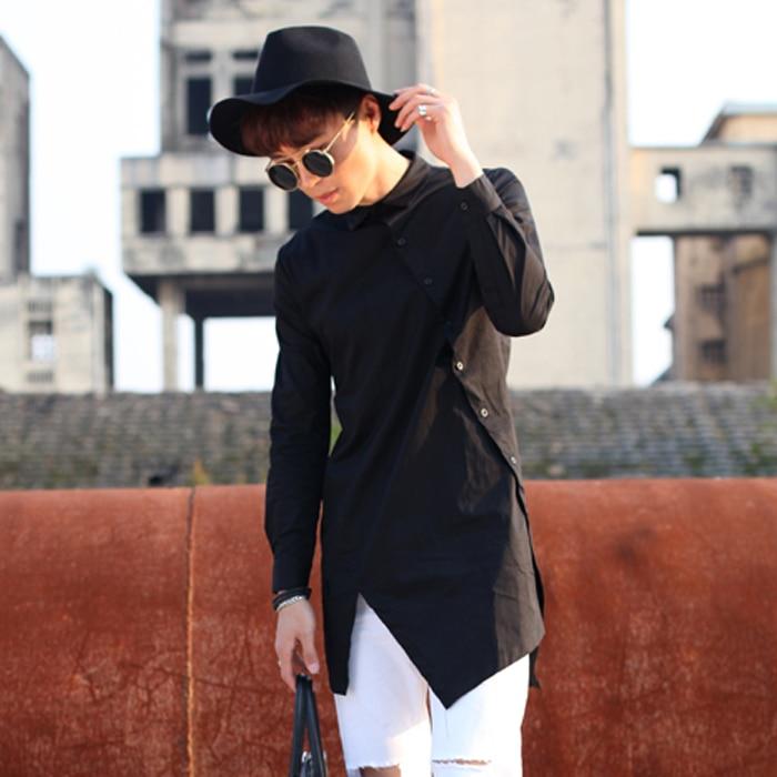 Extra long Mens punk rock shirts Long sleeve Slant oblique button Black  White color Slim fit New fashion XXL 4ce43444495