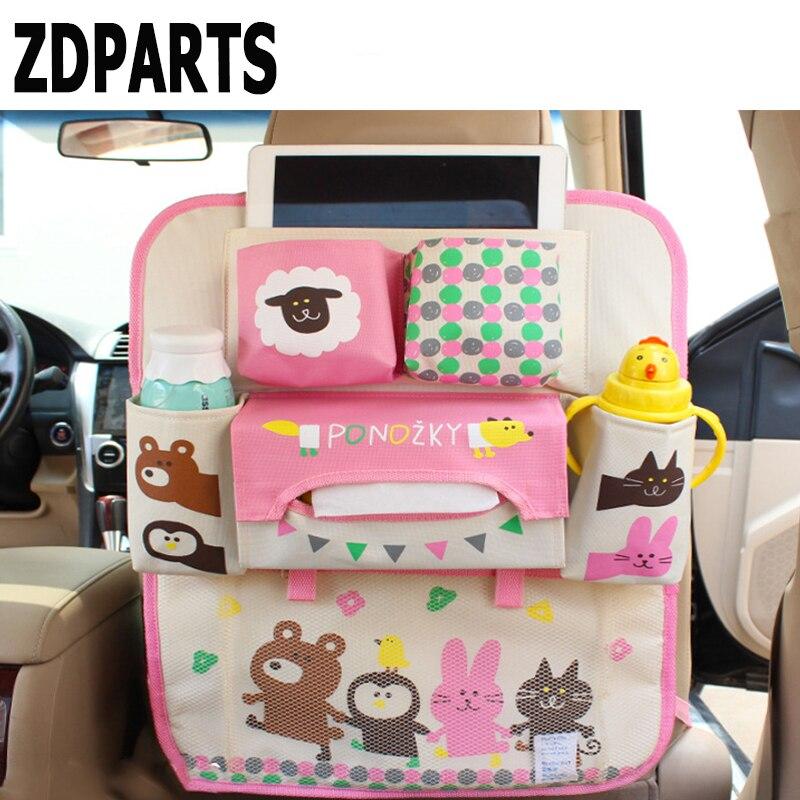 ZDPARTS Cartoon Car Back Seat Luggage Net Organizer Covers For Hyundai i30 ix35 ix25 Solaris Tucson 2017 Mazda 3 6 cx-5 Subaru