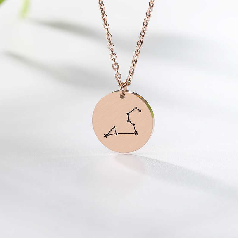 Constellation Jewelry Daisies Zodiac Necklace Women Stainless Steel Virgo Libra Scorpio Sagittarius Capricorn Aquarius Collares