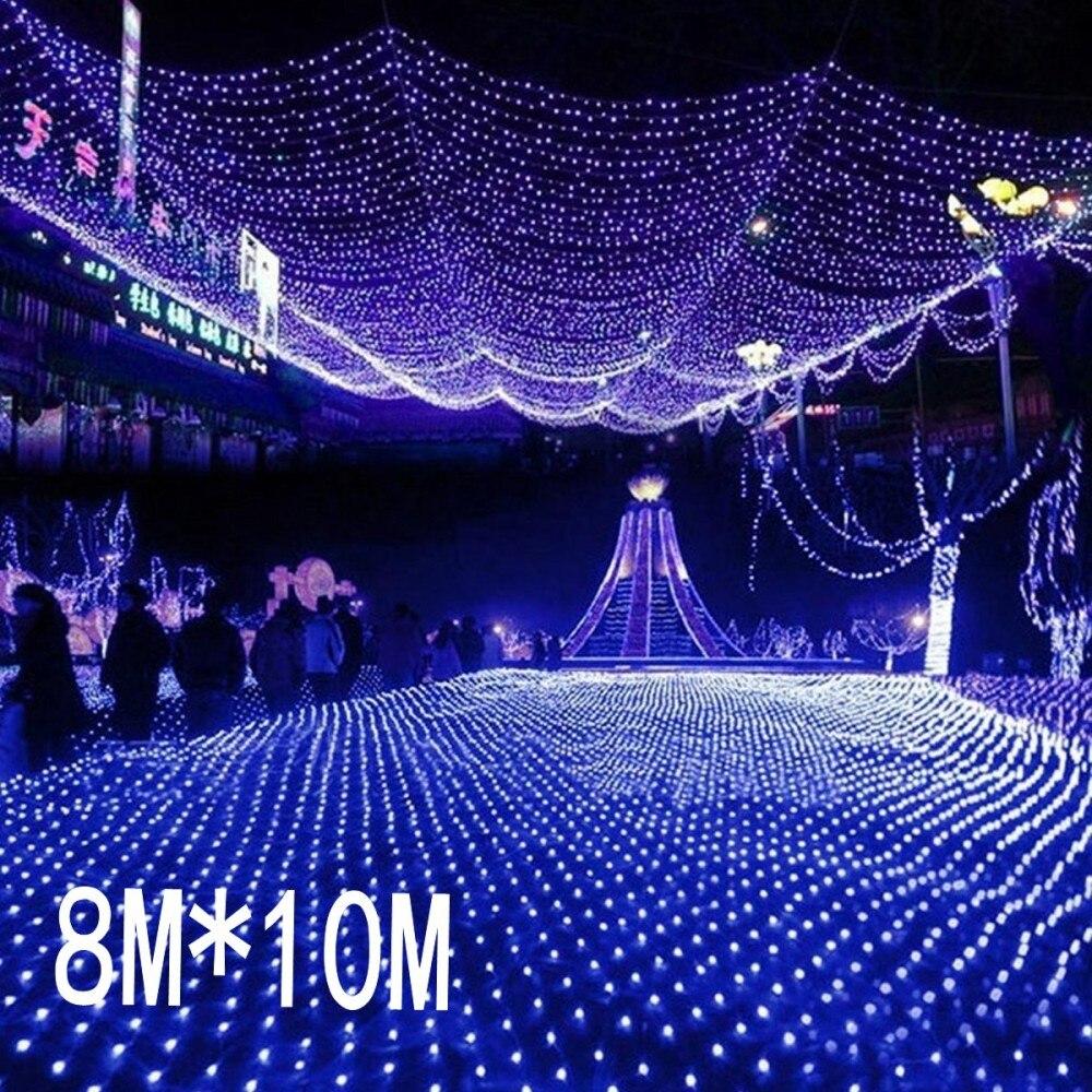 8 м x 10 м 2600 LED 220 В супер яркий Чистая сетки Строка свет Рождественский свет новый год садовый свадьба праздник освещения