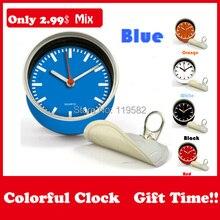 卸売カラフルなギフトのミックスデザイン2015ブルー色のクロック磁気テーブル缶クロックの壁の時計moq100個配合設計