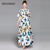 Europe Brand 2017 Autumn Newest Cute Spaghetti StrapSlash Neck Butterfly Print ELegant Ankle Length A Line