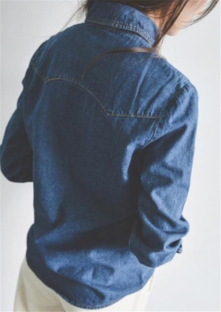 Moda Mujer Las Mujeres Western Cuello Manga Ropa Blusas Camisa Denim Casual Blue Algodón Blue light De Para Blusa Larga dqpwZd