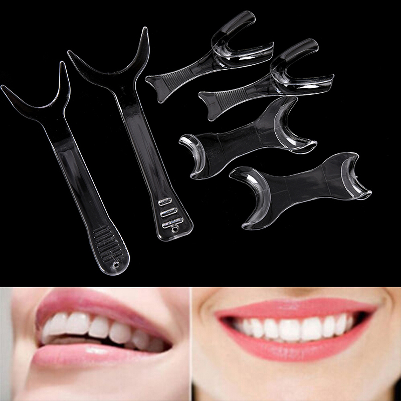 6pcs Transparent Dental Single/Double-headed T-Shape Intraoral Cheek Lip Retractor Orthodontic Lip Cheek Retractor Mouth Openers