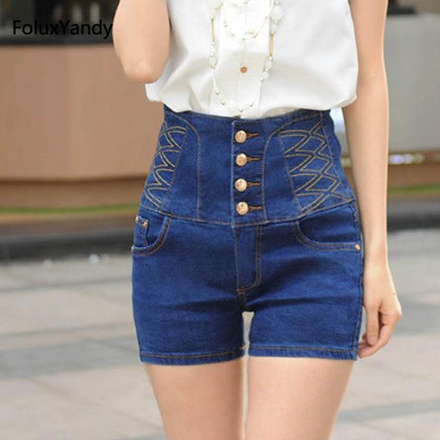 64a8de7300ba High Waist Denim Shorts Women Summer Style Plus Size 3 4 5 6 XL Casual Slim  Jeans Shorts Blue DTY09