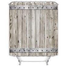 Cortina de ducha de madera Simple nórdico Vintage decorativo impermeable tela de poliéster conjunto de cortina de baño decoración de baño