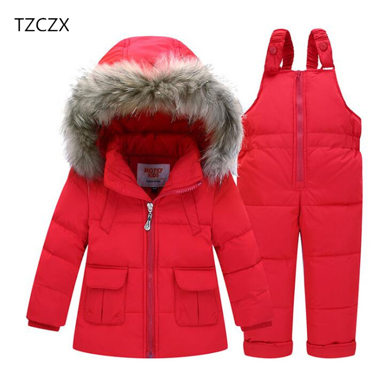 TZCZX 2pcs  Baby Boys Girls Children Fashion White duck down Cotton Coat+Rompers Warm Winter Sets For 2-8 Years Old Kids Wear