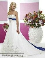 Вечернее платье Винтаж вышивка белый и Королевский синий свадебное платье Бисероплетение 2018 платье vestido de noiva Мать невесты платья