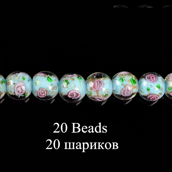A4503 10 beads 20mm 10 x Lampwork Flat Round Glass Beads