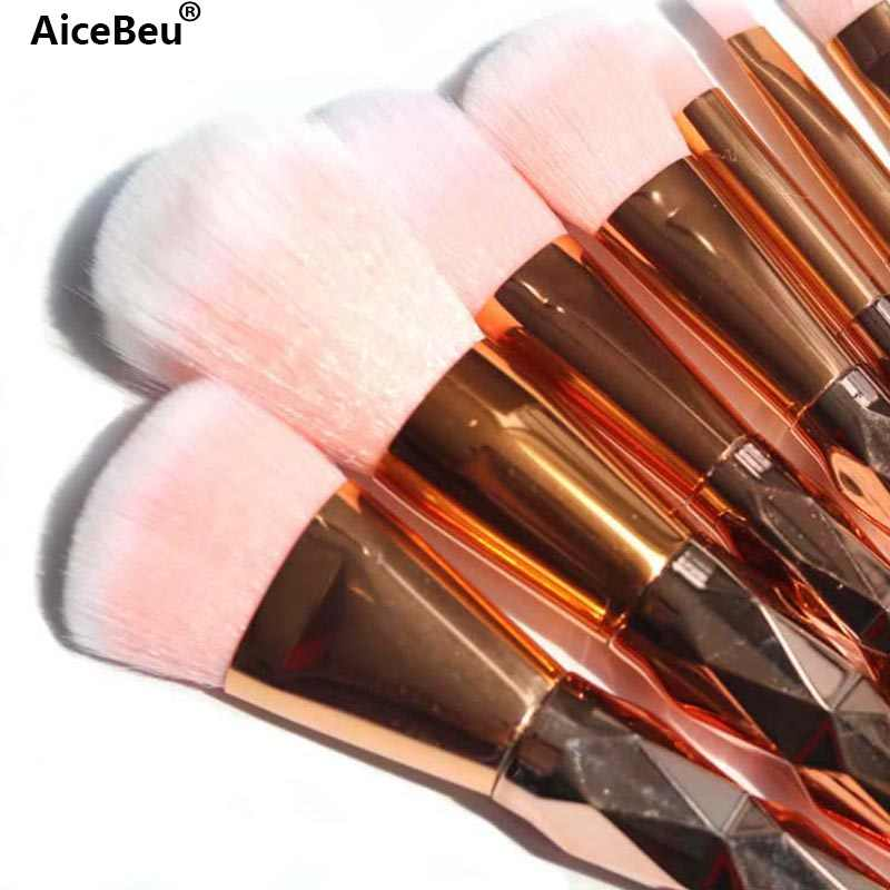 AiceBeu 7/8 Pcs Diamond Rose Gold Up Kwasten Set Stichting Poeder Blush Oogschaduw Mermaid Regenboog Borstel Cosmetische schoonheid