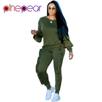 PinePear Tracksuit 2 Two Piece Set 2019 Autumn Winter Women Long Sleeve Ruffle Top+Pants Suit Mujer Trajes Deportivos 7 Colors