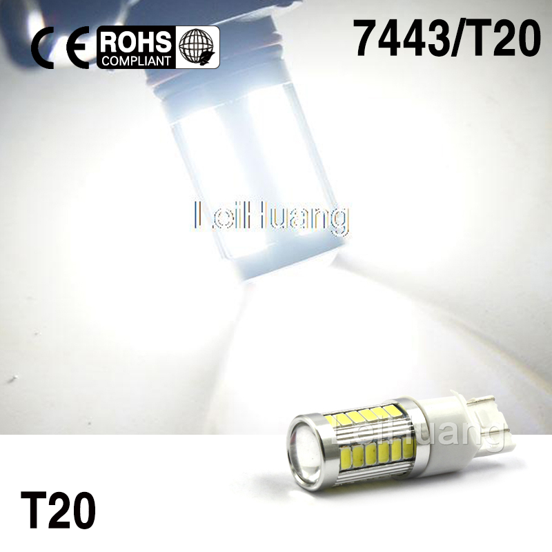 2 X 5730 7443 33-LED High Power Backup Reverse Turn Signal LED Light 7440 7444N white