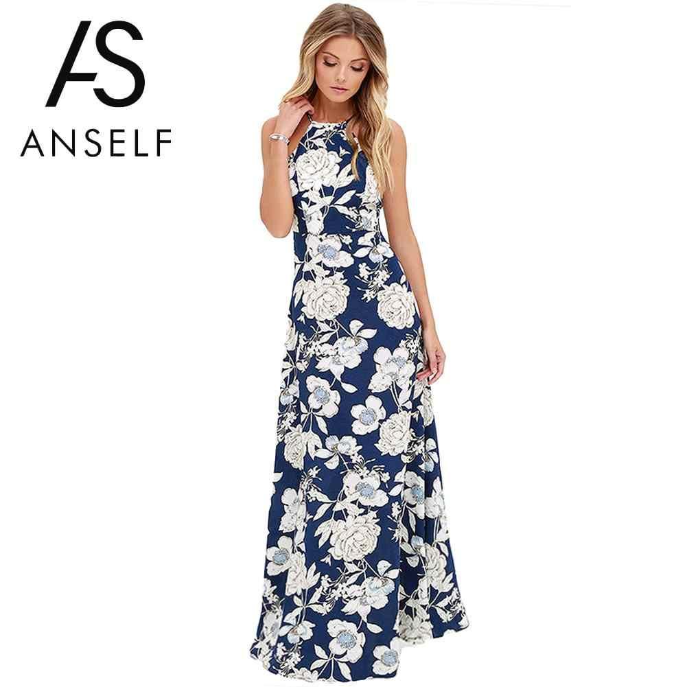 96ec8c74ba ... 5XL Plus Size Maxi Dress Women Sexy Halter Neck Boho Floral Sleeveless Summer  Dress 2019 Beach ...