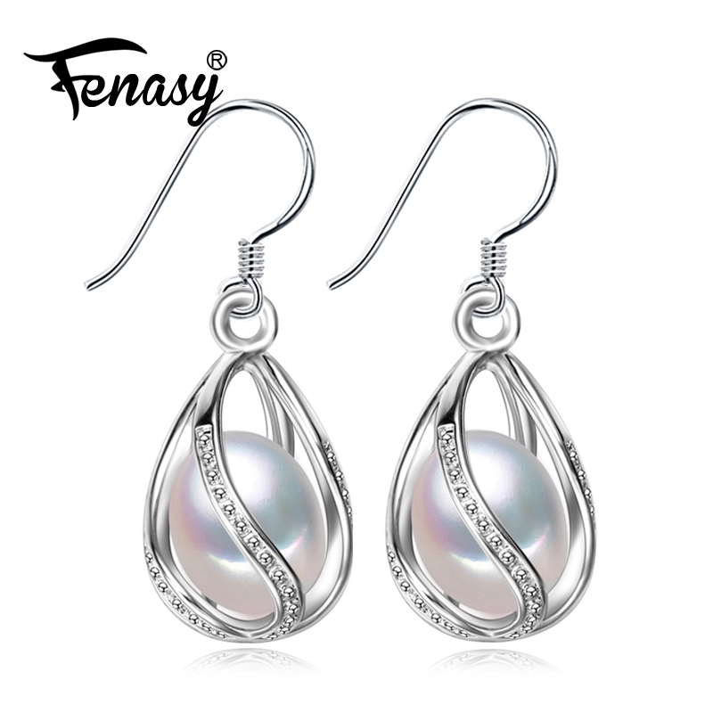 FENASY Pearl drop earrings Pearl Jewelry retro Choker for Women Casual Jewelry Pearl 925 Sterling Silve Charm Bohemia earrings pair of retro rhinestone faux pearl petal shape earrings for women