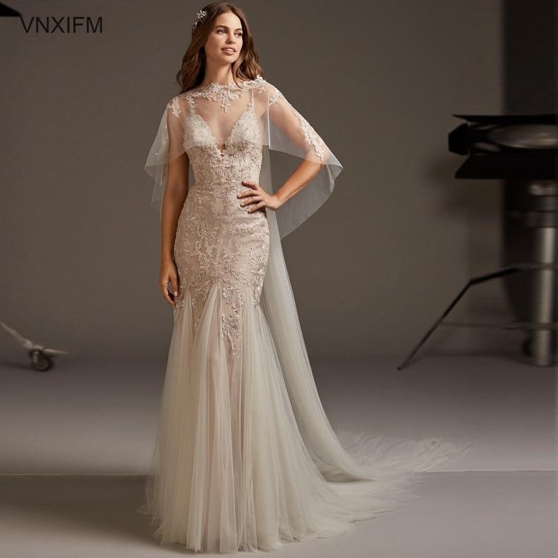 2019 VNXIFM Mermaid Beach Wedding Dresses Appliques Halter Sleeveless Lace Sexy Backless Robe Court Train Plus