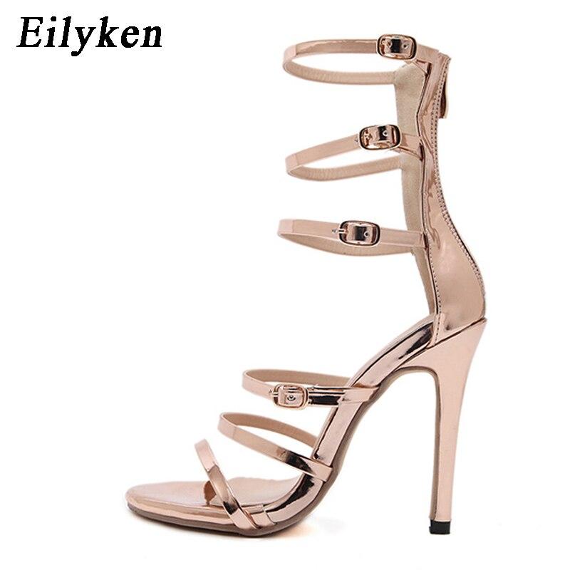 gold 35 Sandales Talons 12 D'or Cm Eilyken Gladiateur Mode Pompe Noir Féminine Black Sexy Femmes 40 Taille toe 2017 Peep xxaHFq