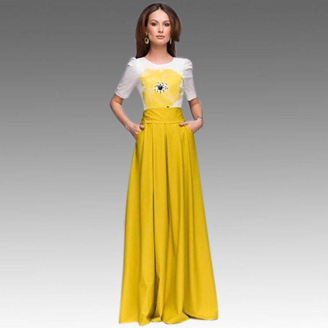 Yellow Flower Print Long Maxi Dress Summer 2015 New Fashion Women Casual  Dresses Short Sleeve Chiffon Pleated Dress with Pockets b4760547daf5