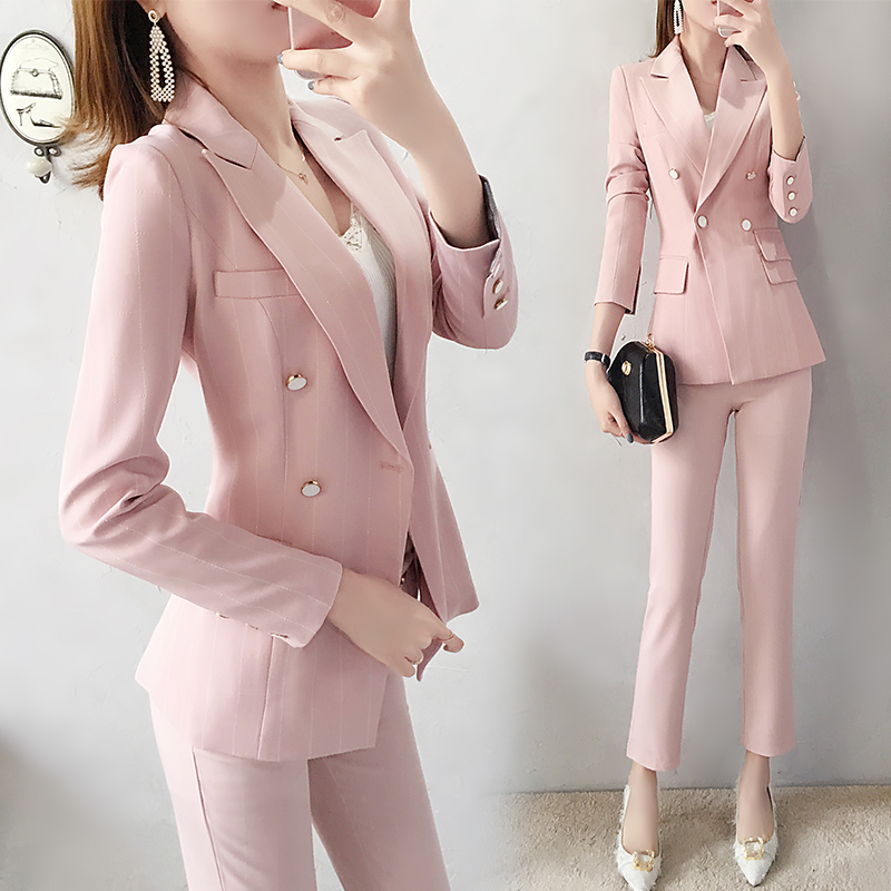 British style woman pink suit pant suits Workwear suit spring new fashion female temperament small Blazers jacket two piece set