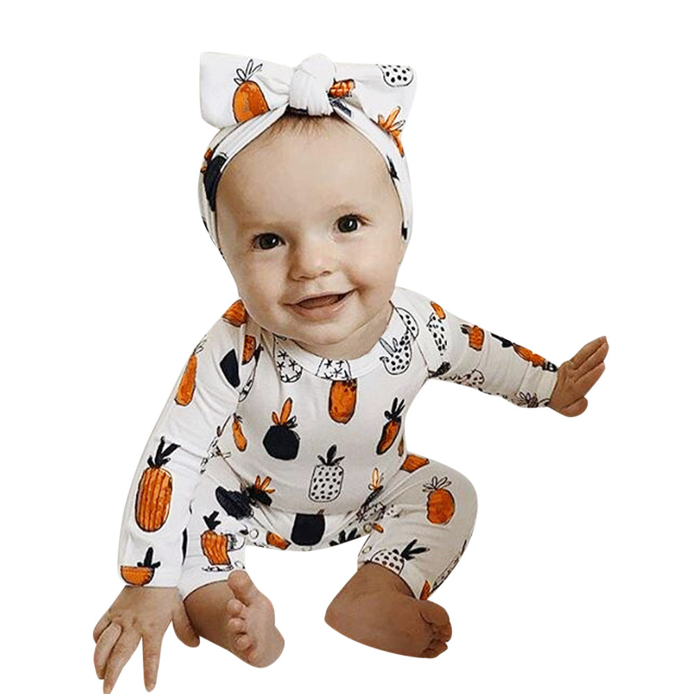Industrious Baby Girl Boy Romper Clothes Pineapple Print Winter Warm Kids Long Sleeve Jumpsuit Newborn Jumpsuit Baby Clothing 18sep26 Boys' Baby Clothing