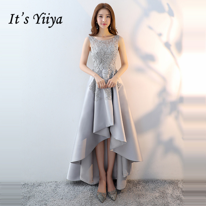 It's Yiiya   Prom     Dresses   2019 Gray O-neck Appliques Sleeveless High Low Party Gowns Elegant Party   Dresses   Formal   Dresses   LX1366